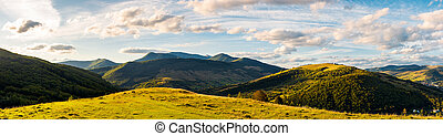 panorama of mountainous countryside. beautiful evening...