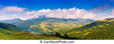 panorama of mountainous rural area in autumn. lovely...