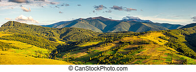 panorama of mountainous rural area in autumn. wonderful...