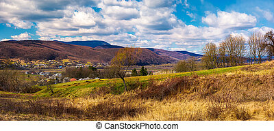 panorama of mountainous rural area in springtime. lovely...