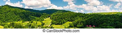 panorama of mountainous rural area in summer. beautiful...