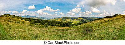 panorama of mountainous TransCarpathia countryside....