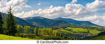 panorama of mountainous urban area. lovely countryside...