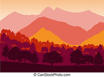 Panorama of mountains and forest silhouette landscape early on the sunset. Flat design