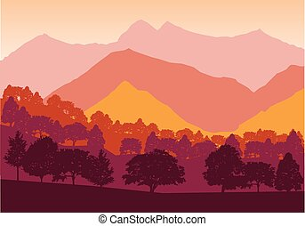 Panorama of mountains and forest silhouette landscape early on the sunset. Flat design Vector
