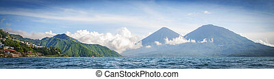 Panorama of mountains and lake in Guatemala