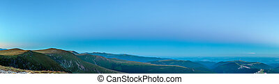 Panorama of mountains at blue hour