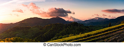 panorama of mountains at sunset. beautiful landscape with...