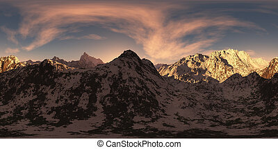 panorama of mountains at sunset. made with the one 360 degree lense camera without any seams. ready for virtual reality