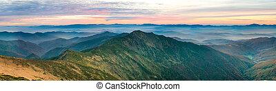Panorama of mountains at sunset