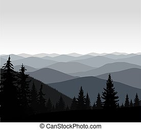 Panorama of mountains. Grey shades.