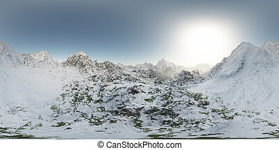 panorama of mountains. made with the one 360 degree lense camera without any seams. ready for virtual reality