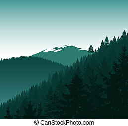 Silhouette of mountains with snow and coniferous trees.