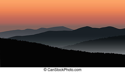 Panorama of mountains. Silhouette of mountains and...