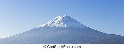 Panorama of Mt. Fuji view from Kawaguchi-ko lake. Yamanashi...