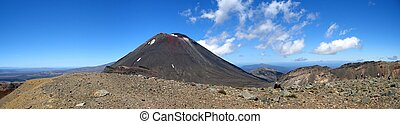 Panorama of Mt. Ngauruhoe in the Tongariro National Park, New Zealand