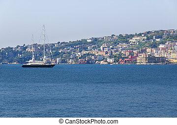 Panorama of Naples, view of Posillipo,
