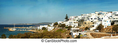 Panorama of Naxos in Greece - Panorama of Naoussa village at...