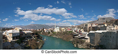 Panorama of Neretva River in Mostar Old Town