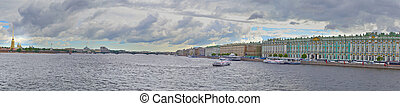 panorama of Neva river and Peter and Paul Fortress