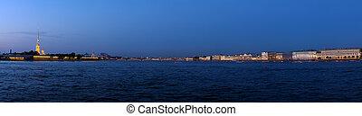 Panorama of Neva River at Evening, Saint Petersburg