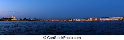 Panorama of Neva River at Evening, Saint Petersburg