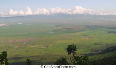 panorama of Ngorongoro Conservation Area of Tanzania in...
