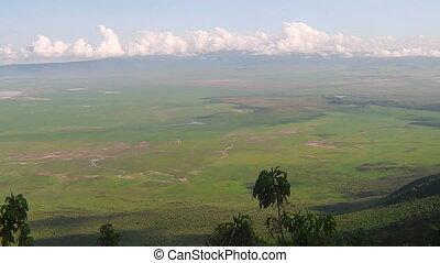 panorama of Ngorongoro Conservation Area of Tanzania in...