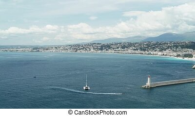 Panorama of Nice, France on a sunny spring day, seaside -...