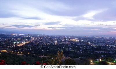 Panorama of night city. Almaty, Kazakhstan. Time Lapse