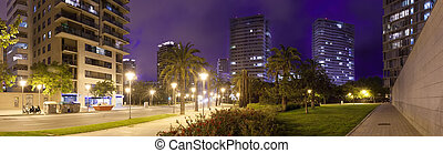 Panorama of night city. Barcelona