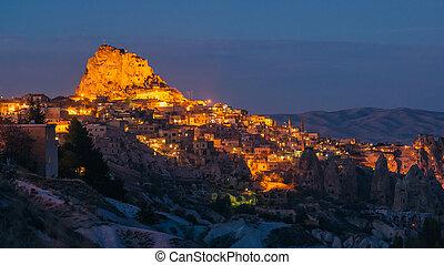 panorama of night city Uchisar