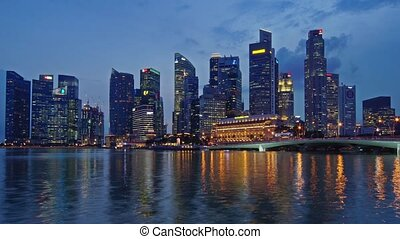 Panorama of Night Singapore - Panoramic time-lapse of night...