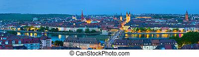 Panorama of night Wurzburg