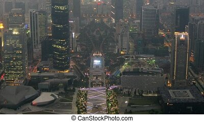 Panorama of night Zhujiang New Town there go cars and light...