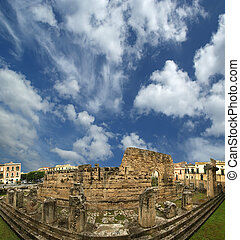 Panorama of of the ancient Greek temple of Apollo. Syracuse (Siracusa, Sarausa) - a historic city in Sicily, Italy