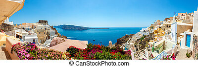 Panorama of Oia village, Santorini island - Panorama of ...