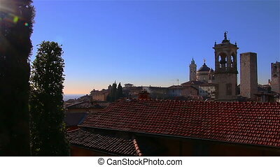 Panorama of old Bergamo, Italy