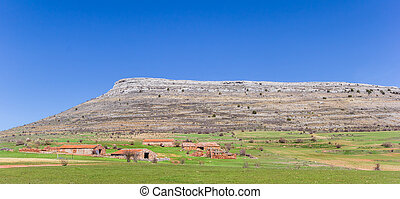 Panorama of old farms in the landscape of Castilla y Leon, Spain
