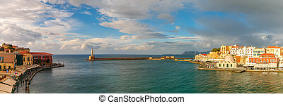 Picturesque panoramic view of old harbour of Chania with Lighthouse and Kucuk Hasan Pasha Mosque, Crete, Greece