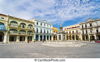 Panorama of Old Havana plaza Vieja, Cuba
