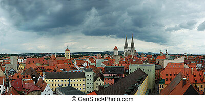 Panorama of old Regensburg ,Bavaria,Germany,Unesco heritage
