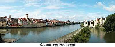 Panorama of old Regensburg embankment ,Bavaria,Germany