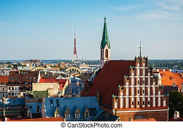 Panorama of Old Riga on sunset