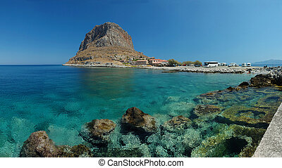 Panorama of old rock byzantine town Monemvasia ,Peloponnese...