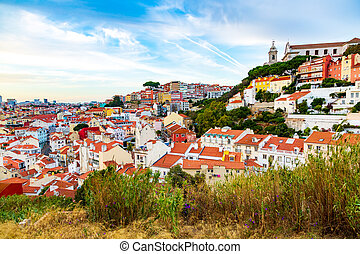 Panorama of old town and igreja da graca church in lisbon, ...