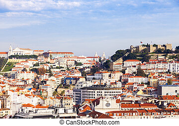 Panorama of Old Town in Lisbon