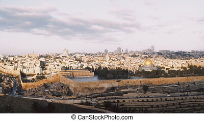 Panorama of old town Jerusalem, Israel. Panning right from...