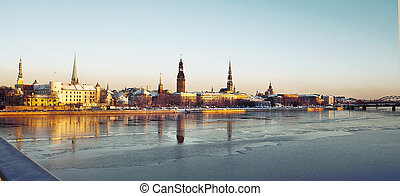 Panorama of Old Town Riga in winter