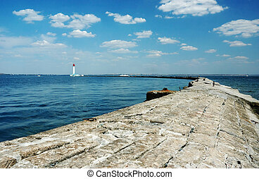 Panorama of old Vorontsov Lighthouse in Odessa bay, Ukraine,Europe